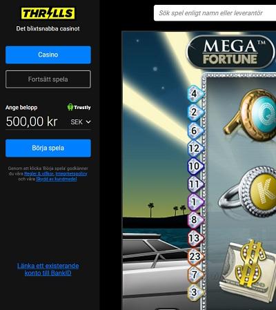 Provspela Mega Fortune gratis hos Thrills Casino!